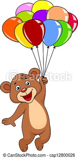 Cute teddy bear with balloons - csp12800026