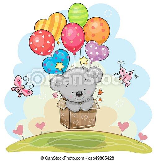 Cute Teddy Bear with balloons - csp49865428