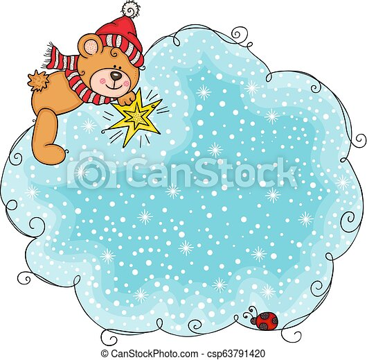 cute teddy bear with blue christmas of snow cloud background scalable vectorial representing a cute teddy bear with blue can stock photo