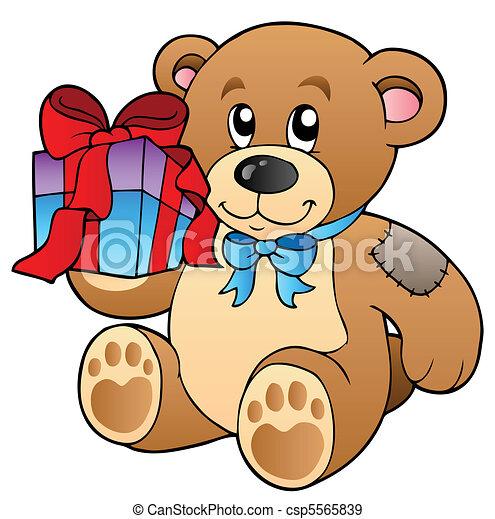 Cute teddy bear with gift - csp5565839