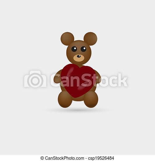 Cute teddy bear with heart - csp19526484