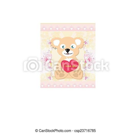 Cute Teddy bear with heart - csp23716785