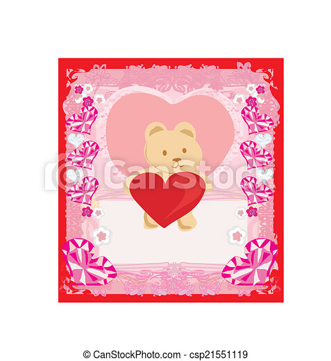 Cute Teddy bear with heart - csp21551119