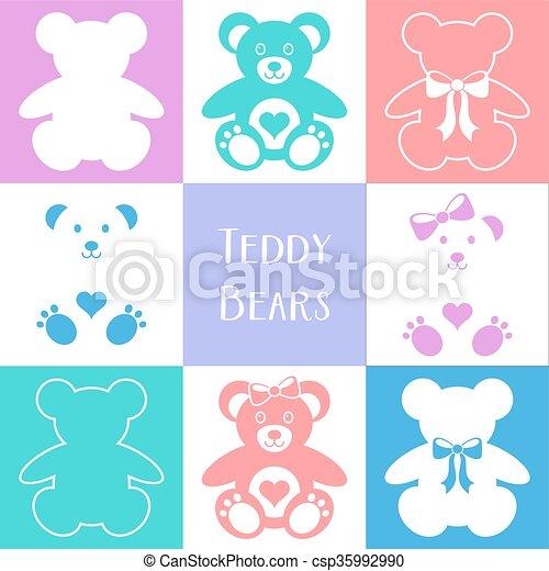 Cute teddy bears icons - csp35992990