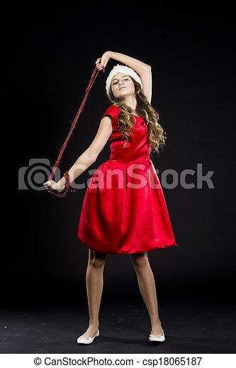 cute teen girl in santa claus costume - csp18065187