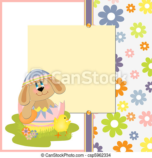 Cute Template For Easter Postcard Cute Template For Easter  Eps