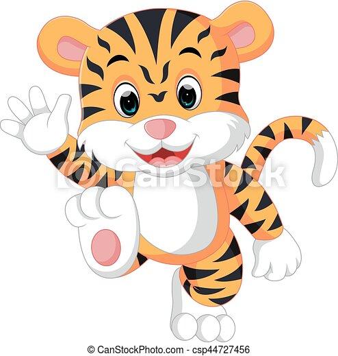 cute tiger cartoon - csp44727456