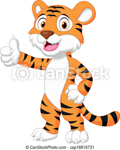Cute tiger cartoon giving thumb up - csp16816731