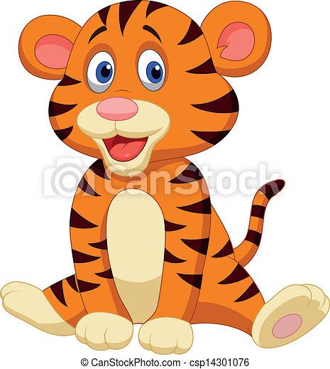 Cute tiger cartoon - csp14301076