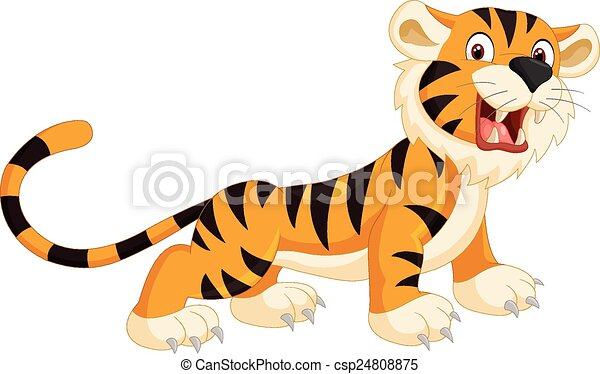 Cute tiger cartoon roaring  - csp24808875