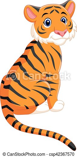 Cute tiger cartoon sitting - csp42367570