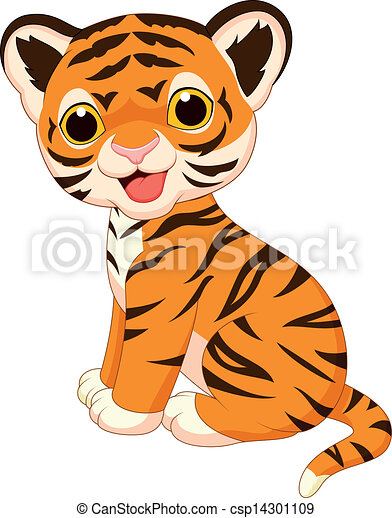 vector illustration of cute tiger cartoon rh canstockphoto com cute baby tiger clipart cute little tiger clipart