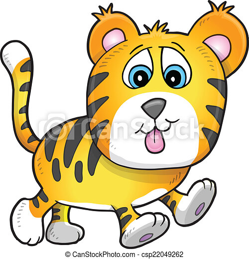 Cute Tiger Cub Vector Illustration  - csp22049262