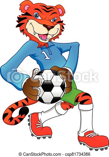 cute tiger playing football - csp81734386