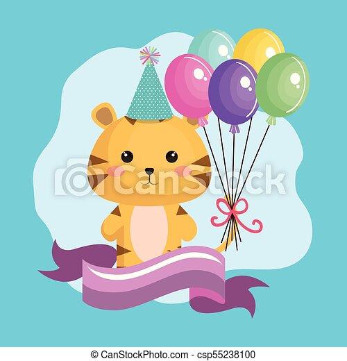 Cute Tiger With Balloons Air Kawaii Birthday Card Vector