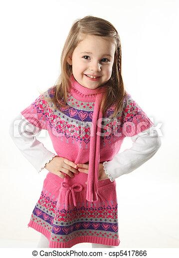 Cute toddler girl wearing a scarf - csp5417866