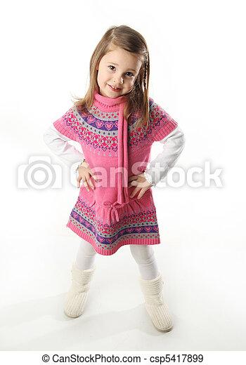 Cute toddler girl wearing a scarf - csp5417899