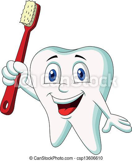 Cute tooth cartoon holding tooth br - csp13606610