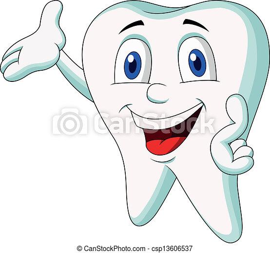 Cute tooth cartoon presenting - csp13606537