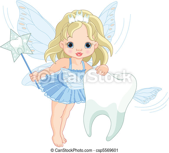 Cute Tooth Fairy flying with Tooth - csp5569601