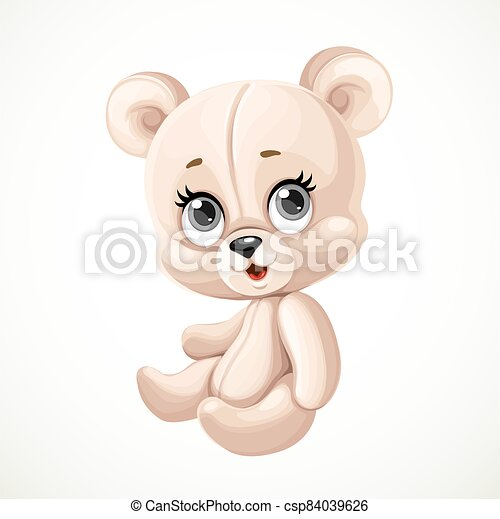 Cute toy teddy bear sit on white background - csp84039626