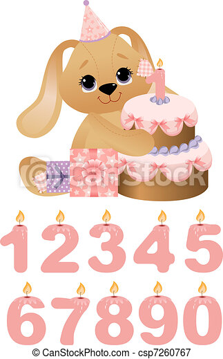 Cute toy with birthday cake - csp7260767