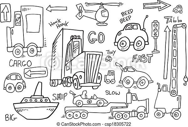Cute Transportation Doodle Vector - csp18305722