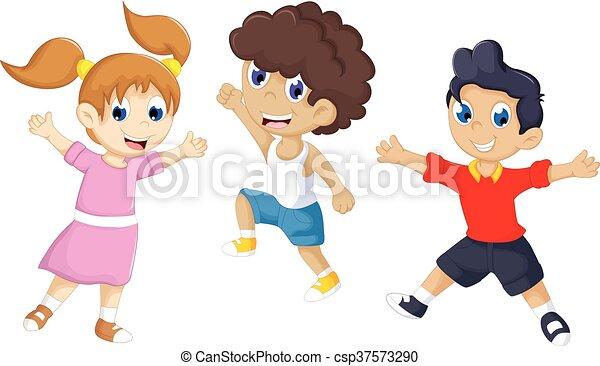 cute tree kids playing - csp37573290