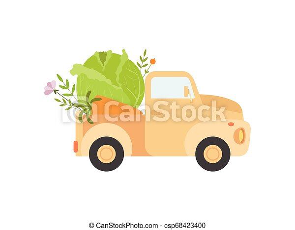 Cute Truck Delivering Fresh Cabbage, Side View, Shipping of Fresh Garden Vegetables Vector Illustration - csp68423400