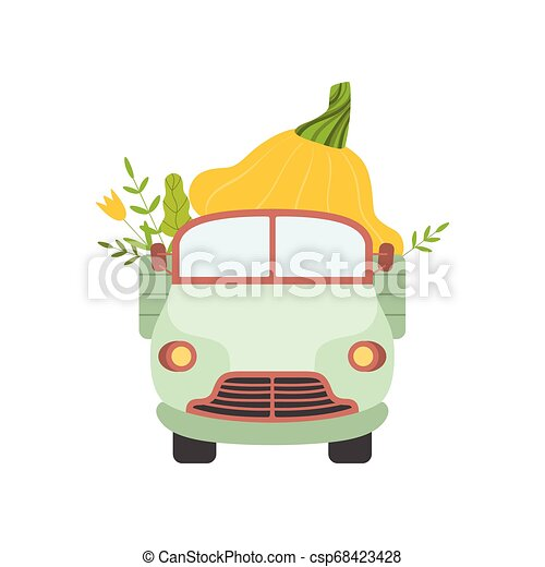 Cute Truck Delivering Giant Squash, Front View, Shipping of Fresh Garden Vegetables Vector Illustration - csp68423428