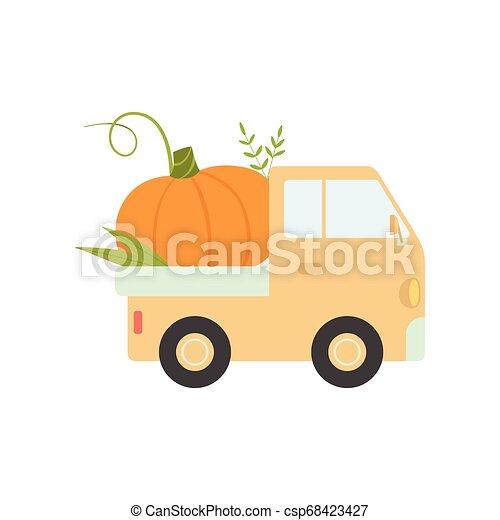 Cute Truck Delivering Pumpkin, Side View, Shipping of Fresh Garden Vegetables Vector Illustration - csp68423427