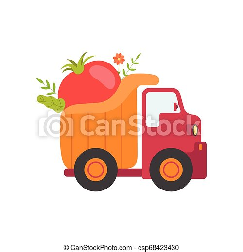 Cute Truck Delivering Tomato, Side View, Shipping of Fresh Garden Vegetables Vector Illustration - csp68423430