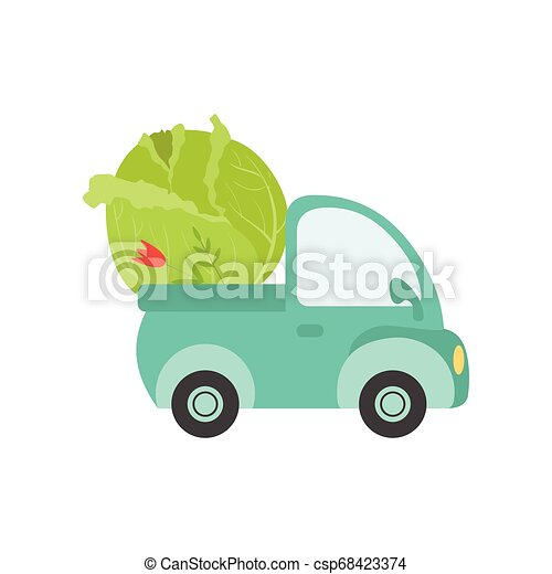 Cute Truck with Giant Cabbage, Side View, Food Delivery, Shipping of Fresh Garden Vegetables Vector Illustration - csp68423374