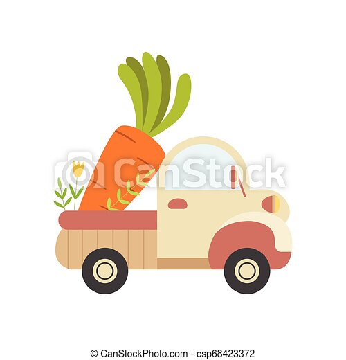 Cute Truck with Giant Carrot, Side View, Food Delivery, Shipping of Fresh Garden Vegetables Vector Illustration - csp68423372