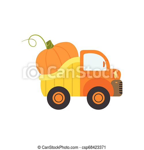 Cute Truck with Giant Pumpkin, Side View, Food Delivery, Shipping of Fresh Garden Vegetables Vector Illustration - csp68423371