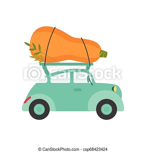 Cute Turquoise Car Delivery Giant Zucchini, Side View, Shipping of Fresh Garden Vegetables Vector Illustration - csp68423424