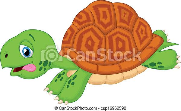 Cute turtle cartoon running - csp16962592