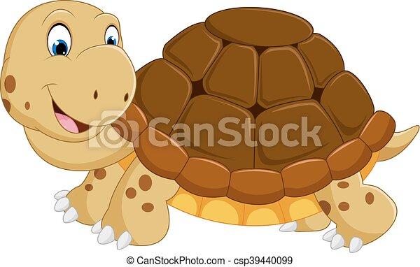 Cute turtle cartoon running - csp39440099