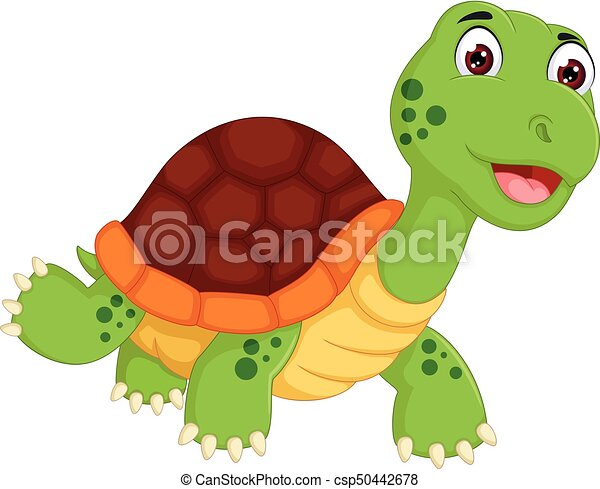 vector illustration of cute turtle cartoon standing with smiling