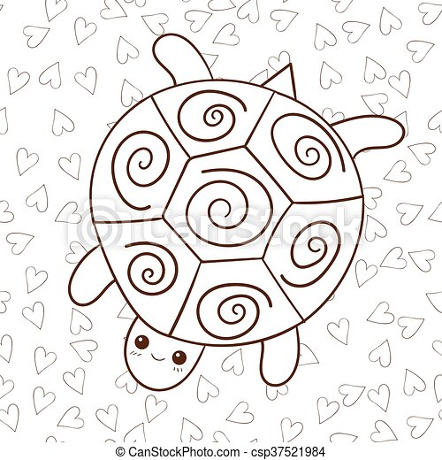 Cute turtle coloring book page. - csp37521984