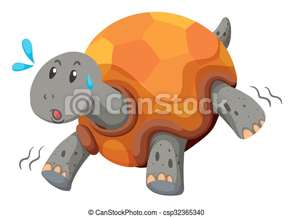 Cute turtle running with swet - csp32365340