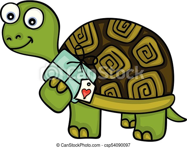 Cute turtle with gift - csp54090097