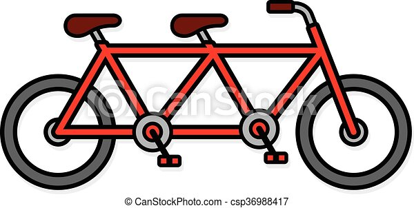 cute two seat tandem bicycle icon single red colored tandem bicycle rh canstockphoto com