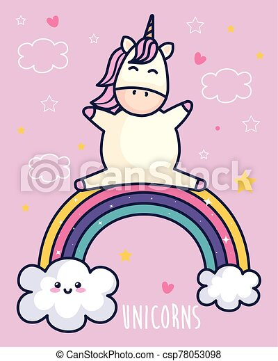cute unicorn and rainbow with clouds kawaii style - csp78053098
