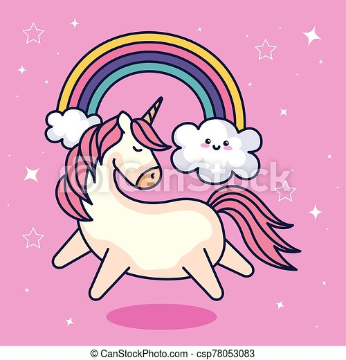 cute unicorn and rainbow with clouds kawaii style - csp78053083