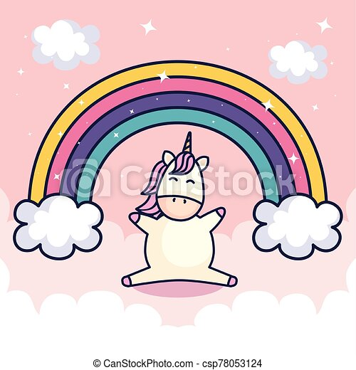 cute unicorn and rainbow with clouds - csp78053124