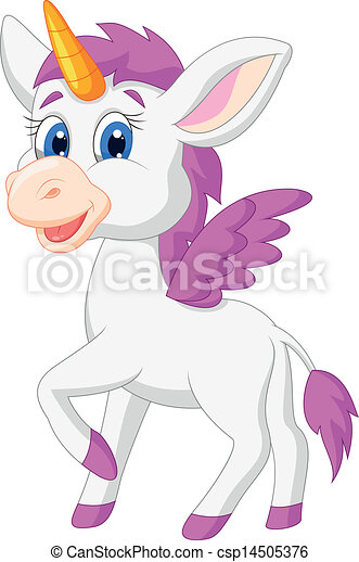 Cute unicorn cartoon - csp14505376