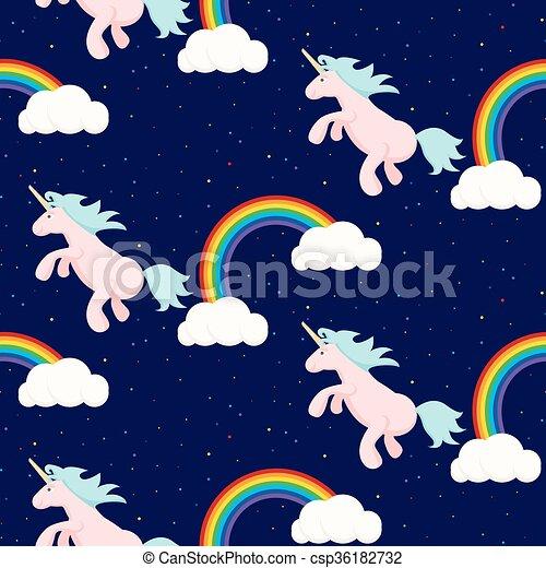 Cute unicorn child seamless pattern. - csp36182732