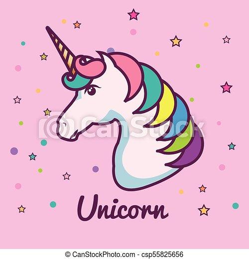 Cute Unicorn Design Cute Unicorn Head With Colorful Mane And Horn