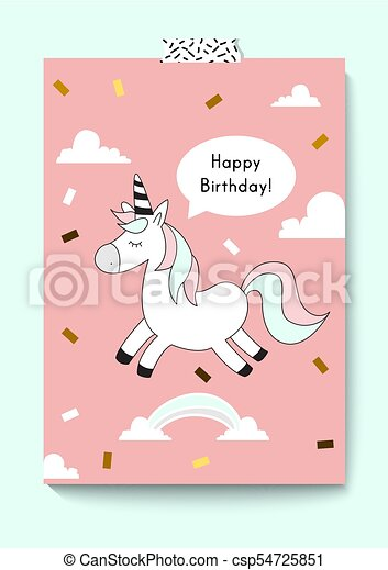 Cute Unicorn Doodle Happy Birthday Card A4 Size Magic Vector